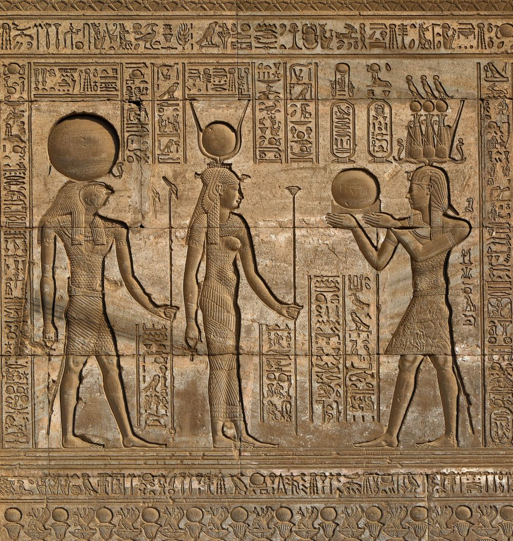 123 Hieroglyphic carvings on the exterior walls of an ancient egyptian temple
