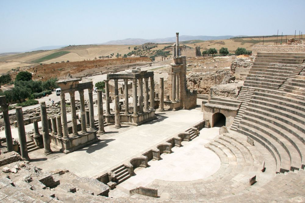 53370801 - roman theatre in dougga - the former capital of numidia. tunisia