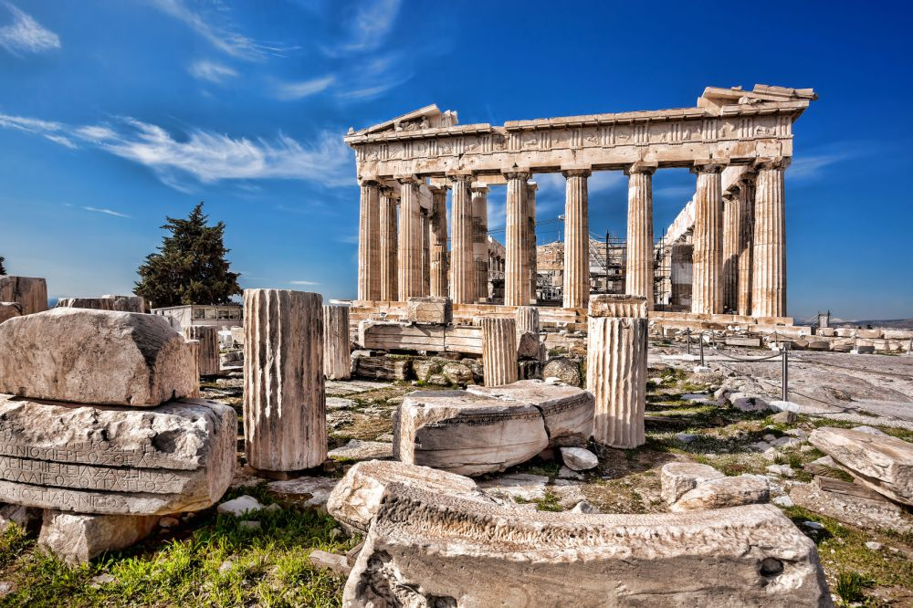 40455446 - famous parthenon temple on the acropolis in athens greece